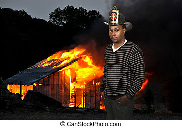 Firefighter - Black African American man firefighter at a...