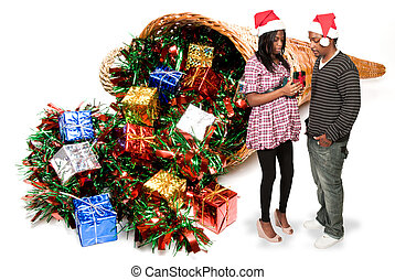 Black Couple Opening a Christmas or birthday present - A...