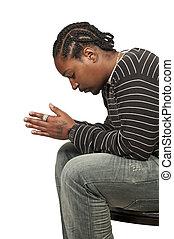 orando, pretas, homem