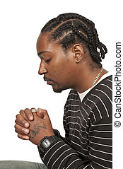 Black man praying - Black African Americanl Christian man in...