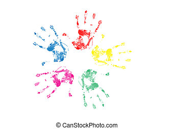 hand prints - Set of colorful hand prints isolated on white...