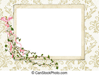 Floral Twig on damask - Flowering twig with pearls on damask...