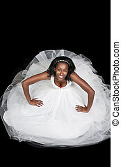 Black woman in wedding dress