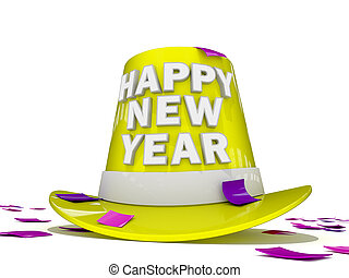 Happy New Year 2012 - Happy New Year Hat and Confetti
