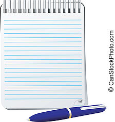 Vector illustration of notebook with pen