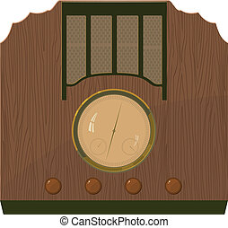 Vector illustration of an old  radio in  a wooden case. EPS10