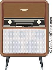 Vector illustration of an old radio on the legs