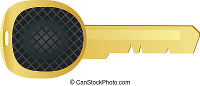 Vector illustration of a key from the yellow metal