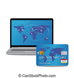 laptop computer and banking card - EPS 10