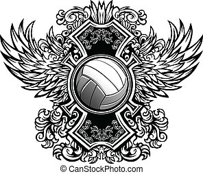 Volleyball Ornate Graphic Vector Te - Volleyball Ball with...