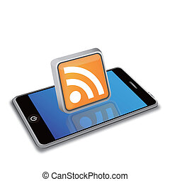 smart phone and RSS icon - EPS 10