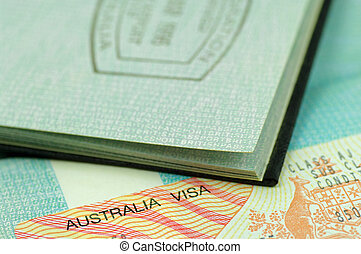 australian immigration visa on open passport page