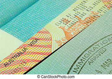 australian visa and passport - australian visa on an open...