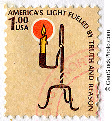 Candle - UNITED STATES - CIRCA 1978: stamp printed by United...