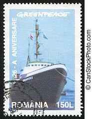 Greenpeace - ROMANIA - CIRCA 1997: stamp printed by Romania,...