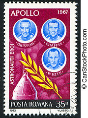 astronauts - ROMANIA - CIRCA 1972: stamp printed by Romania,...