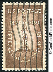 Oil Derrick - UNITED STATES - CIRCA 1959: stamp printed by...