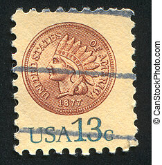 Indian head penny - UNITED STATES - CIRCA 1978: stamp...