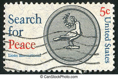peace dove - UNITED STATES - CIRCA 1967: stamp printed by...
