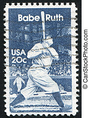 Babe Ruth - UNITED STATES - CIRCA 1983: stamp printed by...