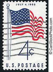 USA flag - UNITED STATES - CIRCA 1960: stamp printed by...