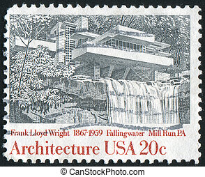Fallingwater - UNITED STATES - CIRCA 1982: stamp printed by...