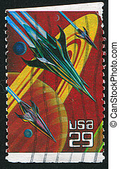 spacecrafts - UNITED STATES - CIRCA 1993: stamp printed by...
