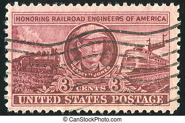 locomotives - UNITED STATES - CIRCA 1950: stamp printed by...