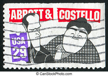 caricature - UNITED STATES - CIRCA 1991: stamp printed by...