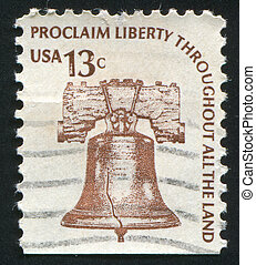 liberty bell - UNITED STATES - CIRCA 1979: stamp printed by...