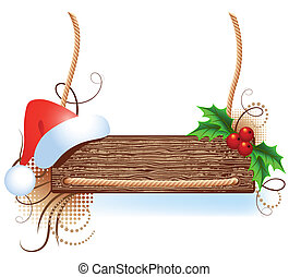 Christmas signboard with santa hat - Christmas wooden...