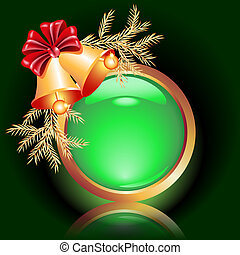 Christmas web button - Web button with christmas bells