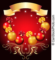 Christmas card with red and yellow balls
