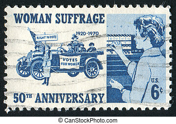 women suffragettes - UNITED STATES - CIRCA 1970: stamp...