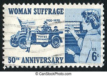 women suffragettes - UNITED STATES - CIRCA 1970: stamp...