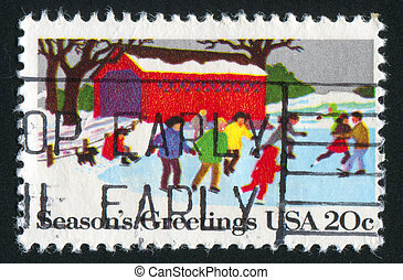 children - UNITED STATES - CIRCA 1982 : stamp printed by...