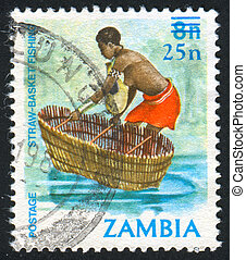 fishing - ZAMBIA - CIRCA 1987: stamp printed by Zambia,...
