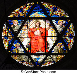 Stained glass window. Cathedral of BAsel, Switzerland