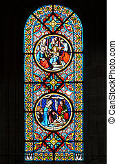 Nativity Scene. Stained glass window in the Basel Cathedral....