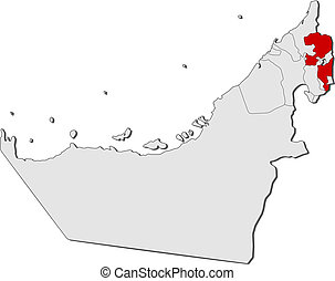 Map of the United Arab Emirates, Fujairah highlighted -...