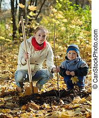 family planting tree in autumn - family planting tree with...