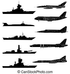 A set of military aircraft, ships and submarines
