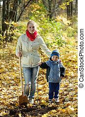 mulher, dela, filho, fazer, pomar, Outono
