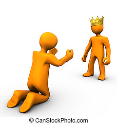 Beggar and King - Beggar and king with golden crown, on...