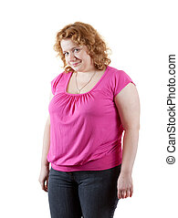 fat unsightly woman - fat unsightly woman. Isolated over...