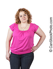 fat ugly woman - fat ugly woman. Isolated over white...