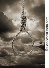 Noose - Sepia toned photograph of a hangmans Noose against...