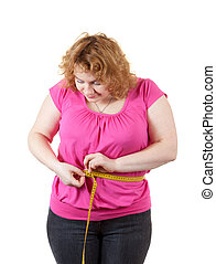 fat woman measuring waist Isolated over white background
