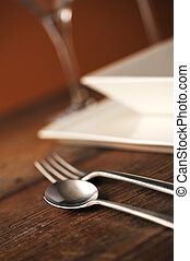 Place setting - Close-up of silverware , on the dining...