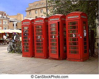 red telephon booths - a series of four traditional British...